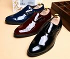 Elegant Mens Casual Pointy Toe Patent Leather Buckle Velcro Dress Formal Shoes