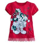 DISNEY PARKS AUTHENTIC SANTA MICKEY & MINNIE MOUSE HOLIDAY TOP GLITTER & GEMS