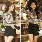 Women Casual Long Sleeve Plaid Checked Lapel Button Down Blouse Polo Shirts Tops