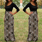 Women Lady Leopard Print Cocktail O Neck Long Sleeve Long Maxi Sundress Dress