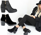 WOMENS LADIES PLATFORM LOW MID HIGH BLOCK HEEL CHELSEA ANKLE BOOTS SHOES SIZE