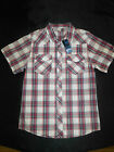 BNWT BOYS SIZE 12 RED CHARCOAL WHITE CHECK COLLARED SHIRT ~ NEW