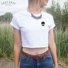 * Pocket Outline Alien Head Crop Top Shirt  Summer Grunge Fashion Blogger UFO *