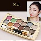 New 12 Colors Professional Eyeshadow Shimmer Palette Cosmetic Brush Makeup Set
