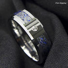 8Mm CZ Silver Celtic Dragon Tungsten Carbide Ring Wedding Band Men Jewelry