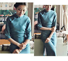 Traditonal Chinese Dress Six Point Long Sleeve Bamboo Linen Qipao Blue QSYR