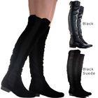 WOMENS LADIES BLACK OVER THE KNEE THIGH HIGH FLAT HEEL STRETCH SUEDE BOOTS SIZE