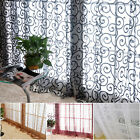 Solid Sweet Floral Tulle Voile Door Window Curtains Drape Sheer Scarf Valances