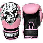 New TUFF Muay Thai Boxing Gloves Pink Skull (N) Leather Kick Boxing Training