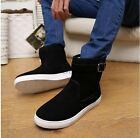 Fashion Mens Winter Faux Suede Leisure Buckle Pull On Flats Ankle Boots Shoes