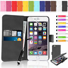 Premium Flip Cover PU Leather Wallet Slim Case for Various Apple iPhone Handsets