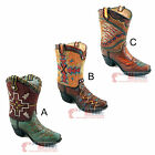 Aztec Boot Flower Vase Decorative Assorted Styles Brown Turquoise Accents