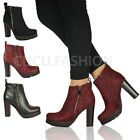 Ladies Womens New Chunky Block High Heel Ankle Boots Platform Zip Shoes Size 3-8