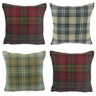"New Woodland Tartan Check Cushion Covers, 16"" x 16"" 3 Colours, Made In UK"