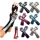 Skeleton Skull Bone Arm Warmer Halloween Print Fashion Cotton Long Trim Gloves