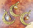 Crescent Moon Necklace - Citrine Crystal Point Pendant (LR47) Gold Plated Charm