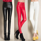 Women Zip Front Skinny Slim Stretchy Faux Leather Pants Tight High Waist S-2XL