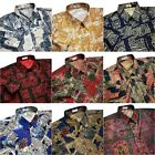Mens Thai Silk Shirts Patterned Casual Hawaiian Short Sleeve S M L XL 2XL 3XL