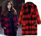Red Fashion Womens Casual Checks Loose Trench Coat Woolen Jacket Peacoat XL-5XL