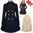 Fashion Women Slim Fit Long Double Breasted Trench Coat Gown Peacoat Overcoat