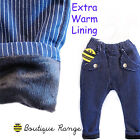 Toddlers Boy Girl Trousers with Elastic Waist Wool with Fleece Smart Chinos 2-7Y