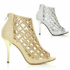 CAGED GLITTER HIGH HEELS LADIES SANDALS WOMENS STRAPPY ANKLE BOOTS BOOTIES SIZE