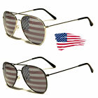 American USA Flag Aviator Sunglasses Patriotic United States Stars Stripes Black