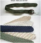 "Fabric Cord Weave Make Your Own Belt  2"" wide Green Blue Off White Beige"