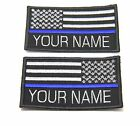 CUSTOM NAME THIN BLUE LINE POLICE SWAT USA FLAG PATCH HOOK BACKING  9X5.5 CM