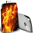 pu leather pull tab pouch case for various Mobiles - fire flower pouch