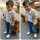 Boy 3 PC Outfit Set Party Suit Size1-8 Years Coat + Shirt +Denim Trousers