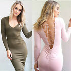 Sexy Women Ladies V Neck Long Sleeve Winter Bodycon Party Evening Mini Dress