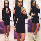 Women's Turtle Neck Off Shoulder Slim Pullover Sweater Jumper Bodycon MINI Dress