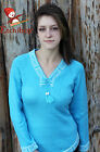 Metis Sweater Etchiboy Chandail Light Turquoise Alpaca Wool Bell Shape XS-XL