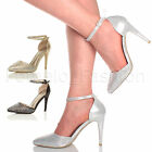 WOMENS LADIES HIGH HEEL DIAMANTE POINTED COURT SHOES ANKLE STRAP SANDALS SIZE