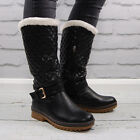 Womens Blk White Flat Round Toe Ladies Warm Fur Style Lined Winter Boot