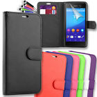 Premium Magnetic Leather Side Flip Wallet Book Case Cover For Sony Xperia M5
