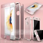 Front+Back Tempered Glass Film& Metal Rubber Bumper Case Cover For iPhone 6 6s