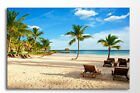 LARGE CANVAS WALL ART BEAUTIFUL BEACH TROPICAL PALM TREE BLUE PICTURE PRINT NEW