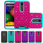 Hybrid Rugged Rubber Bling Crystal Case Cover for Motorola Droid Turbo 2 XT1585