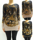Womens Ladies Fluffy Stretchy Round Neck Lion Print Jumper Size 6 8 10 12