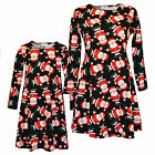Ladies Xmas Santa Print Dresses Mother & Daughter Girls Kids Christmas Dress New