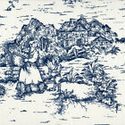 French Country Nautical Blue Toile Shower Curtain with Band