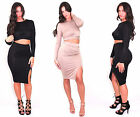 Sexy long sleeve Twisted Crop Top and Skirt Set high waisted with slit  USA