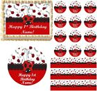 Red and Black LITTLE LADYBUG 1st Birthday Edible Cake Topper