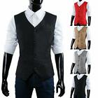 UK Single-Breasted Waistcoat Formal Vest Black Dress Suit Christmas Gift Cheap