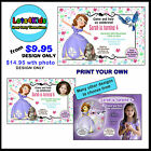 DISNEY PRINCESS SOFIA THE FIRST PERSONALISED PARTY INVITATIONS - PRINT YOUR OWN