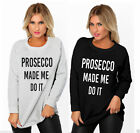 SALE Womens Ladies Christmas Jumper Prosecco Made Me Do It Sweatshirt Top 8-14