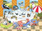 Archival Fine Art Print Cat 601 Bath from funny original painting by Lucie Dumas