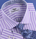 Lilac White Herringbone Stripe Formal Business Dress Shirt Rich Cash Money Boss